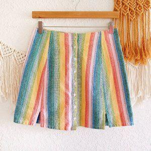 Obey Carmen Cotton Rainbow Mini Skirt